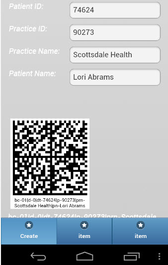 2-D Barcode Medical Record